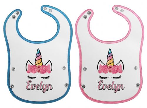 Personalised Floral Unicorn Waterproof Neoprene Baby Pocket Bib w/Buttons